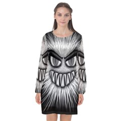 Monster Black White Eyes Long Sleeve Chiffon Shift Dress  by HermanTelo
