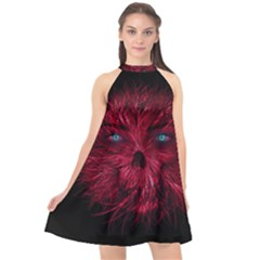 Monster Red Eyes Aggressive Fangs Ghost Halter Neckline Chiffon Dress
