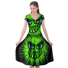 Monster Green Evil Common Cap Sleeve Wrap Front Dress