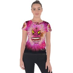 Monster Pink Eyes Aggressive Fangs Short Sleeve Sports Top