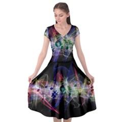 Particles Music Clef Wave Cap Sleeve Wrap Front Dress
