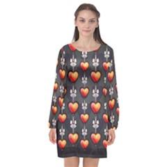 Love Heart Background Valentine Long Sleeve Chiffon Shift Dress