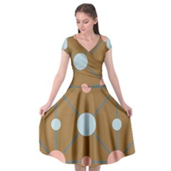 Planets Planet Around Rounds Cap Sleeve Wrap Front Dress