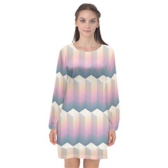 Seamless Pattern Background Block Long Sleeve Chiffon Shift Dress