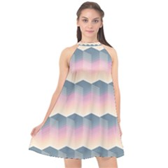 Seamless Pattern Background Block Pink Halter Neckline Chiffon Dress