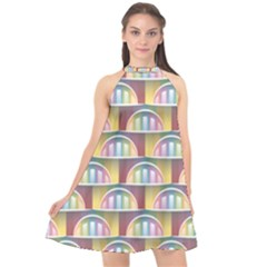 Seamless Pattern Background Abstract Halter Neckline Chiffon Dress