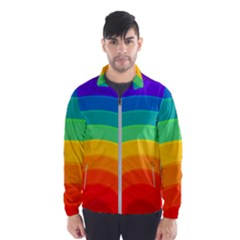 Rainbow Background Colorful Men s Windbreaker by HermanTelo