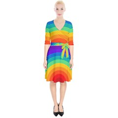 Rainbow Background Colorful Wrap Up Cocktail Dress by HermanTelo