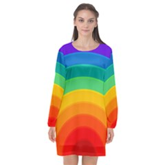 Rainbow Background Colorful Long Sleeve Chiffon Shift Dress
