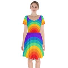 Rainbow Background Colorful Short Sleeve Bardot Dress by HermanTelo