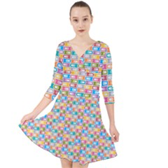 Seamless Pattern Background Abstract Rainbow Quarter Sleeve Front Wrap Dress by HermanTelo