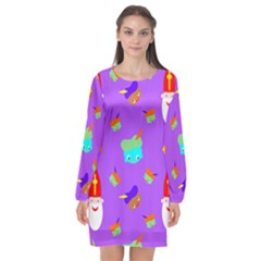Saint Nicholas Long Sleeve Chiffon Shift Dress
