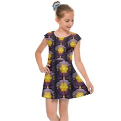 Pattern Background Yellow Bright Kids  Cap Sleeve Dress by HermanTelo