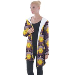 Pattern Background Yellow Bright Longline Hooded Cardigan by HermanTelo