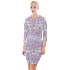 Seamless Pattern Background Quarter Sleeve Hood Bodycon Dress by HermanTelo