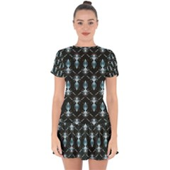 Seamless Pattern Background Black Drop Hem Mini Chiffon Dress