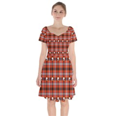 Plaid Pattern Red Squares Skull Short Sleeve Bardot Dress