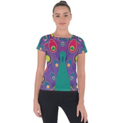 Peacock Bird Animal Feathers Short Sleeve Sports Top