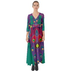 Peacock Bird Animal Feathers Button Up Boho Maxi Dress by HermanTelo