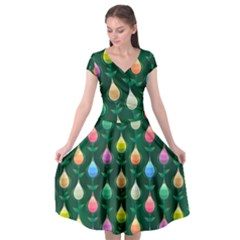 Tulips Seamless Pattern Background Cap Sleeve Wrap Front Dress