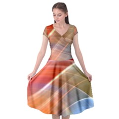 Wave Background Pattern Abstract Cap Sleeve Wrap Front Dress
