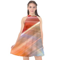 Wave Background Pattern Abstract Halter Neckline Chiffon Dress
