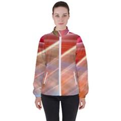 Wave Background Pattern Abstract Women s High Neck Windbreaker by HermanTelo