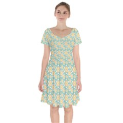 Seamless Pattern Floral Pastels Short Sleeve Bardot Dress by HermanTelo