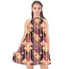 Seamless Pattern Plaid Halter Neckline Chiffon Dress  by HermanTelo