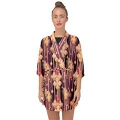 Seamless Pattern Plaid Half Sleeve Chiffon Kimono by HermanTelo