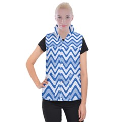 Waves Wavy Lines Women s Button Up Vest by HermanTelo