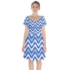 Waves Wavy Lines Short Sleeve Bardot Dress