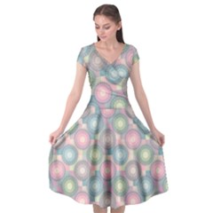 Seamless Pattern Pastels Background Cap Sleeve Wrap Front Dress
