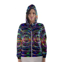 Wave Line Colorful Brush Particles Women s Hooded Windbreaker