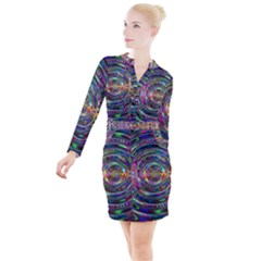 Wave Line Colorful Brush Particles Button Long Sleeve Dress