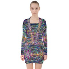 Wave Line Colorful Brush Particles V Neck Bodycon Long Sleeve Dress by HermanTelo