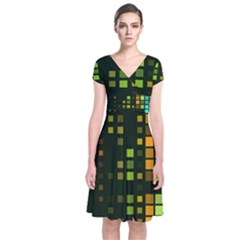 Abstract Plaid Short Sleeve Front Wrap Dress