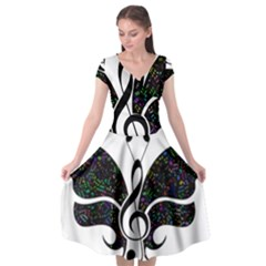 Butterfly Music Animal Audio Bass Cap Sleeve Wrap Front Dress