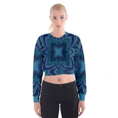 Blue Geometric Flower Dark Mirror Cropped Sweatshirt by HermanTelo