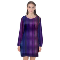Abstract Background Plaid Long Sleeve Chiffon Shift Dress