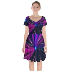 Abstract Background Lightning Short Sleeve Bardot Dress by HermanTelo