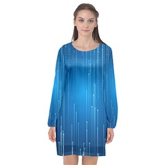 Abstract Line Space Long Sleeve Chiffon Shift Dress  by HermanTelo