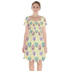 Animals Pastel Children Colorful Short Sleeve Bardot Dress