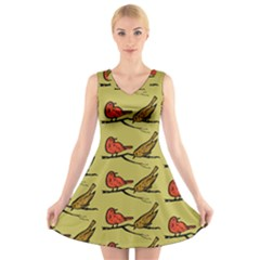 Bird Animal Nature Wild Wildlife V Neck Sleeveless Dress by HermanTelo