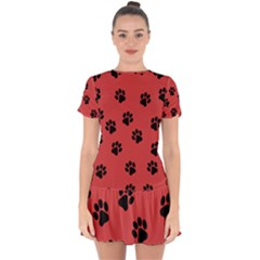 Paw Prints Background Animal Drop Hem Mini Chiffon Dress