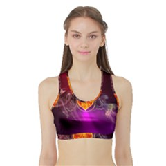 Flame Heart Smoke Love Fire Sports Bra With Border