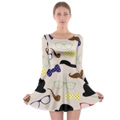 Moustache Hat Bowler Long Sleeve Skater Dress