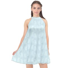 Footprints Pattern Paper Scrapbooking Blue Halter Neckline Chiffon Dress
