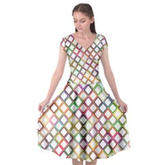 Grid Colorful Multicolored Square Cap Sleeve Wrap Front Dress by HermanTelo