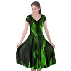 Smoke Flame Abstract Green Cap Sleeve Wrap Front Dress